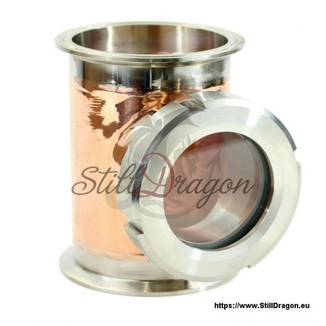 """4"""" x 4"""" x 3"""" Tri-Clamp Copper Tee with Screw-On Sight Glass"""